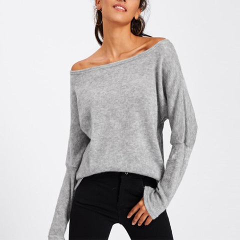 Oblique Collar Long Batwing Sleeve Plain Knitting Sweaters