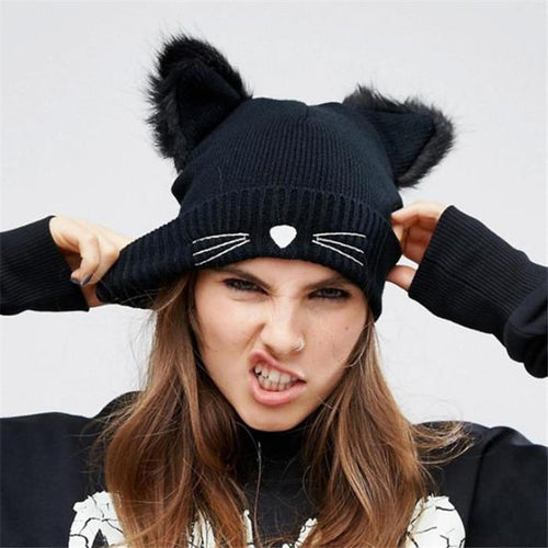 Nifty Fashion Casual Thermal Plain Cat Ear Knitting Hat