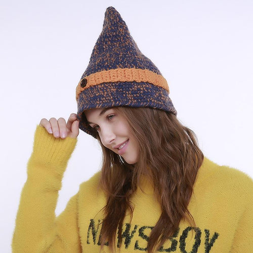 Fashion Winter Knit Wool Pointed Head Handmade Hat