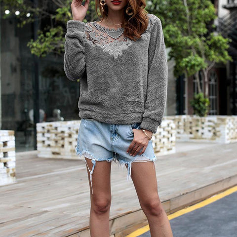 Lace Mosaic Plush Sweatshirts