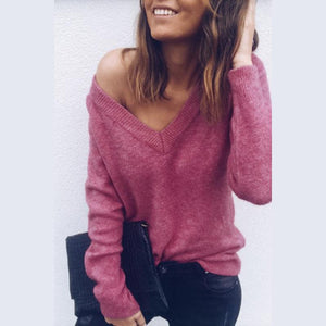 Sexy V-Neck Long-Sleeved Knitted Sweater
