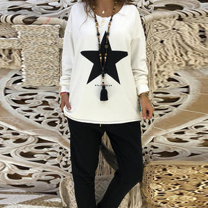 Round Neck Long Sleeve Star Printed Casual Sweatshirts