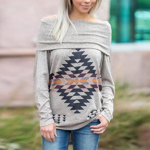 Elegant Off Shoulder Geometrical Printed Long Sleeve Sweatshirts