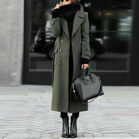 Women Classic Turn-Down Collar Elegant Trench Long Coat
