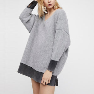Deep V Neck Long Sleeve Patchwork Fashion Sweatshirts