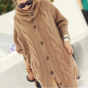 Casual Thickening Pure Colour Loose Knitted Cardigan