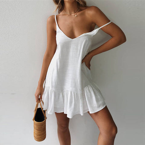 Sexy Solid Color V Neck Backless Sling Dress