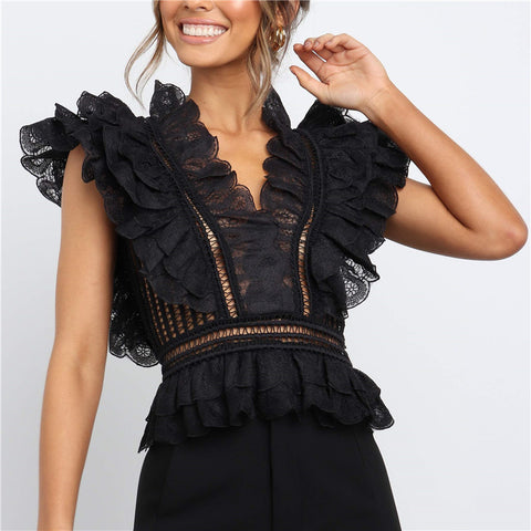 Women's Sexy V-Neck Lace Openwork Backless Sleeveless Slim T-Shirts