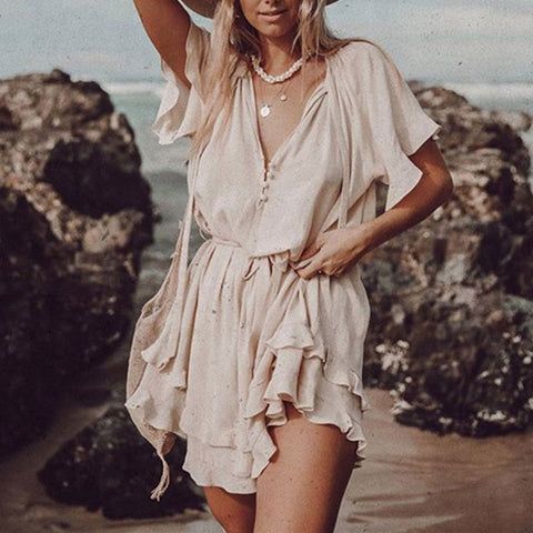 Sexy V-Neck Irregular Pleated Dress