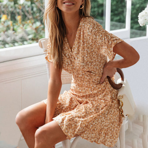 Classy V Neck Floral Pattern Lace-Up Dress