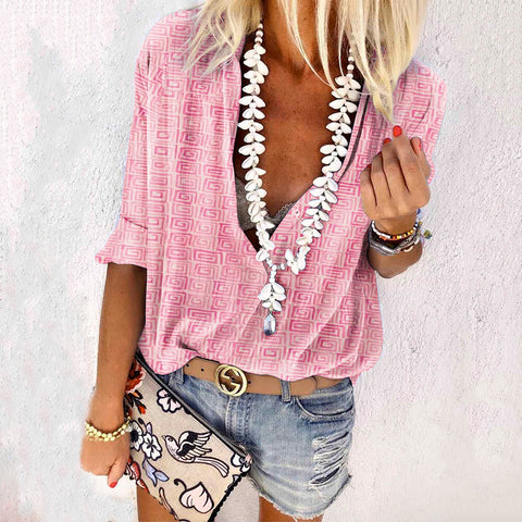 Women's Casual Printed Color V Neck Long Sleeve Loose Blouse