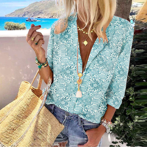 Casual Deep V-Neck Rolled Sleeve Printed Loose Shirt