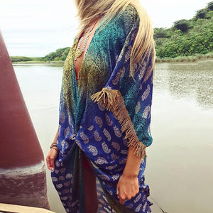Bohemian Printed Tassel Stitching Seven-Points Sleeve Cardigans