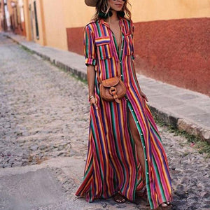 V Neck Button Down Collar  Stripes  Roll Up Sleeve  Half Sleeve Maxi Dresses