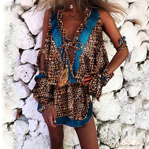 Bohemian  Printed Color   Sleeveless  Leopard Print  Dress