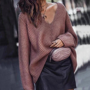 Casual V-Neck Stitching Solid Color Sweater
