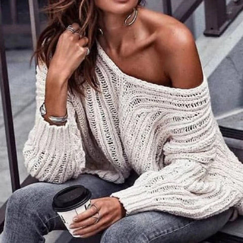 Fashion Strapless Collar Solid Color Cutout Sweater