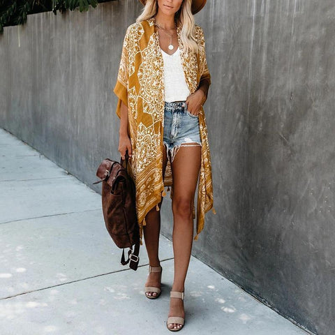 Casual Beach Printed Yellow Knee-Length Tassel Cover Ups