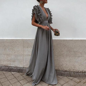 Flash Sale Sexy Short Sleeves Evening Maxi Dress