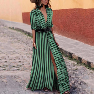 V Neck Sexy Green Short Sleeves Floral Print Maxi Dress