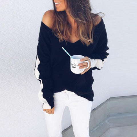 Deep V Neck  Patchwork Sweaters