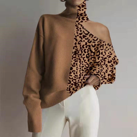 Fashion High Collar Leopard Splicing Off Shoulder Knit Top