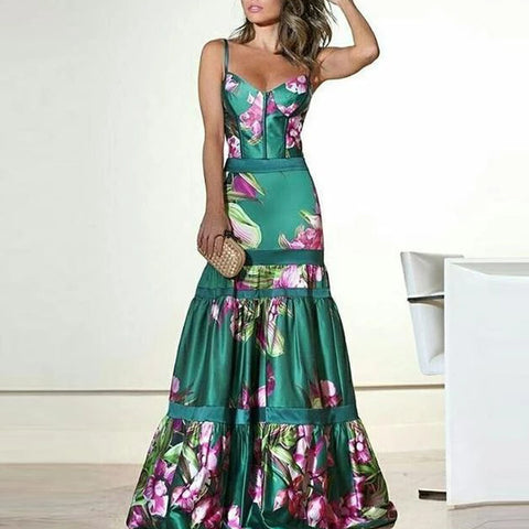 V Neck Fashion Sexy Floral Plunge Ruffles Layered Hem Evening Dress