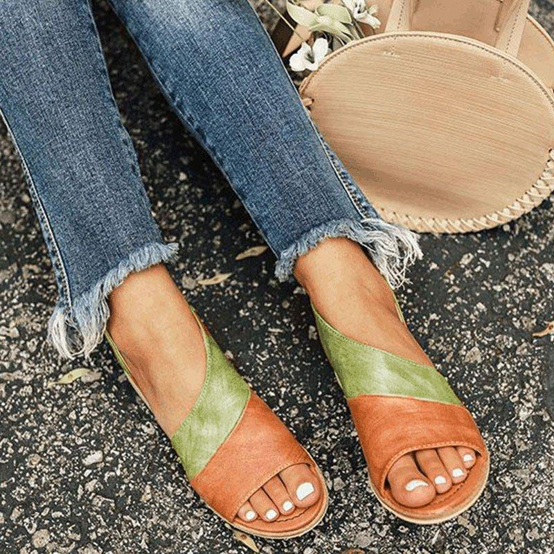 Women Leather   Flat Heel Patchwork Sandals