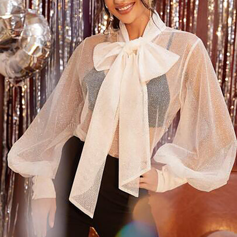 Womens Sexy See-through Bishop Sleeve Blouse
