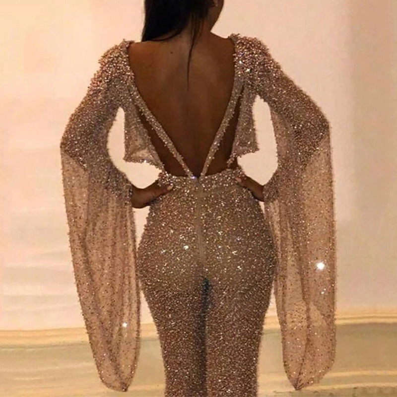 Sexy Backless Long Sleeve Sequin Jumpsuit