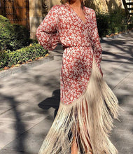 Load image into Gallery viewer, Casual Sexy Deep V   Neck Tassels Hemline Floral Print Maxi Dresses