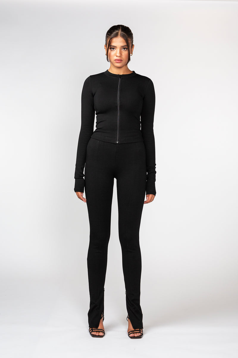 Black Long Sleeve Zip Top