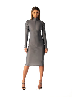 Grey Fitted Zip Dress