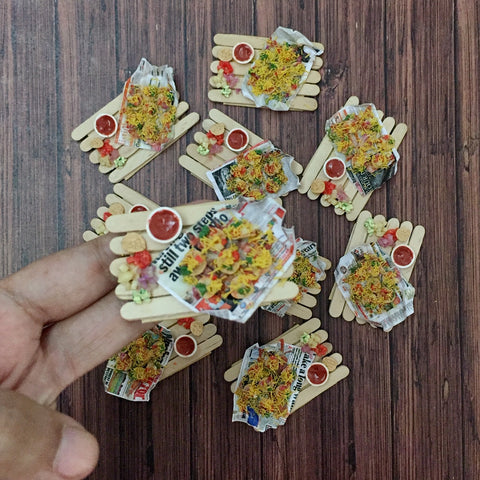 Indian Chaat Sev Puri Mini Magnet- Chaat Lover Gift- Foodie Gift- Miniature Food Magnet