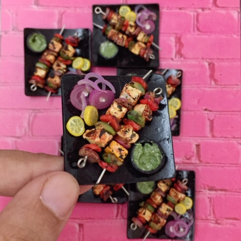 Miniature Grilled Paneer Kebab Fridge Magnet- Indian Food Miniature- Gift For Foodies