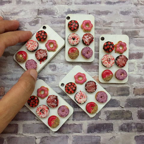 Miniature Pink Donut Mix Magnet- Miniature Doughnut Magnet- Assorted Donut Fridge Magnet- Donut Lover Gift- Assorted Doughnut Gift