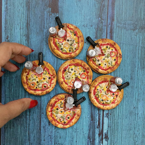 Miniature Pizza Magnet- Pizza Lover Gift- Quirky Fridge Magnet- Foodie Gift Idea