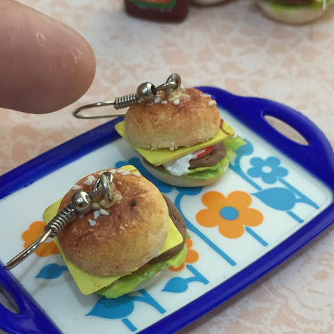 Miniature Burger Earrings