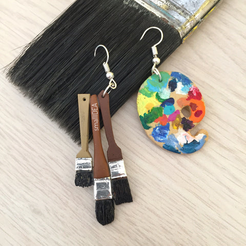 Miniature Brush & Palette Earrings