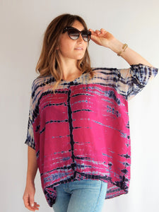 Raquel Allegra 100% Silk Tie Dye Top