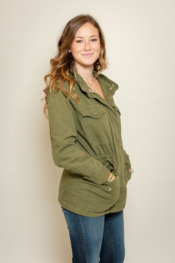 Madewell Army Green Hooded Jacket