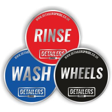 Wash, Rinse & Wheels Bucket Stickers