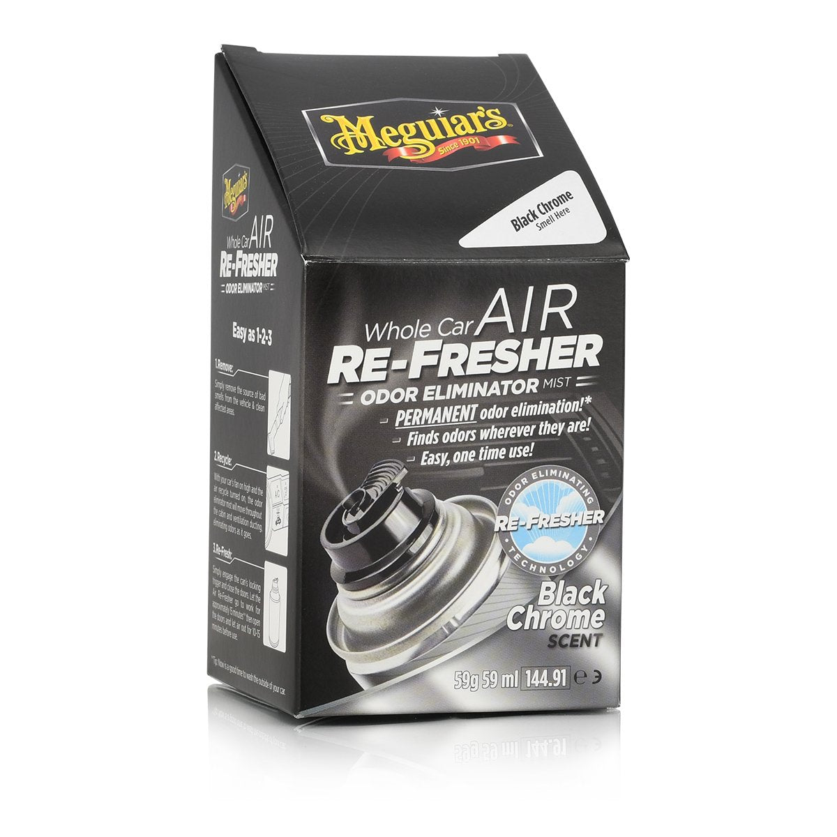 Meguiars Whole Car Air Re-Fresher Odor Eliminator Black Chrome Scent