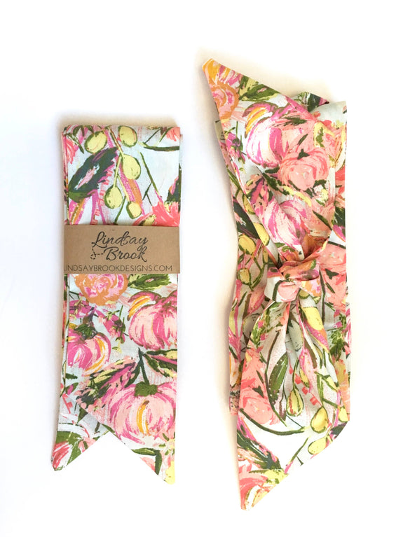 Lindsay Brook Designs - Aqua and Blush Floral Hair Scarf
