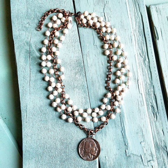 The Jewelry Junkie - White Turquoise and Copper Indian Head Necklace