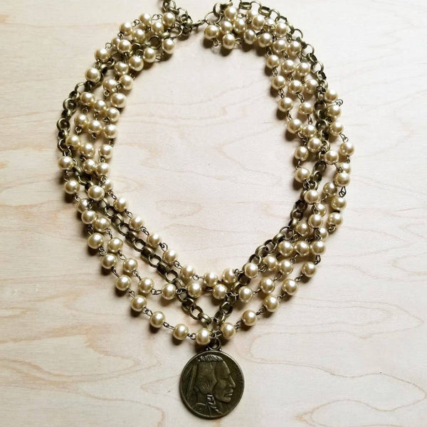 The Jewelry Junkie - Champagne Pearl with Indian Head Coin Necklace