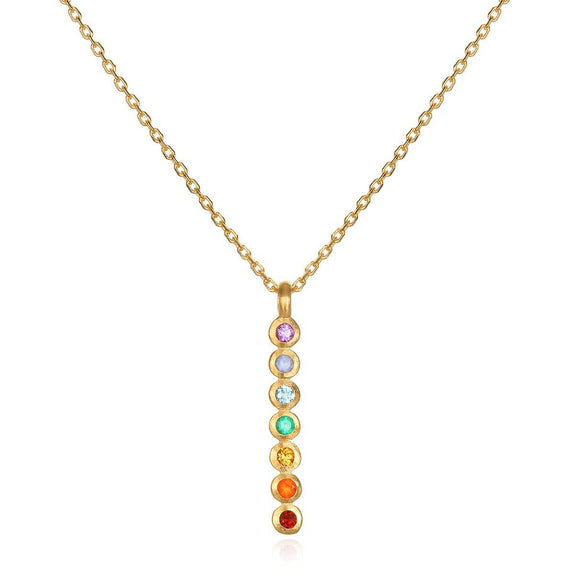 Satya Jewelry - Multi Stone Chakra Stick Necklace