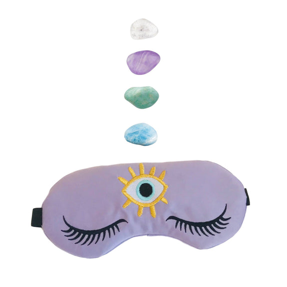 The Sleepy Cottage - Weighted Amethyst Healing Crystal Infused Sleep Eye Mask