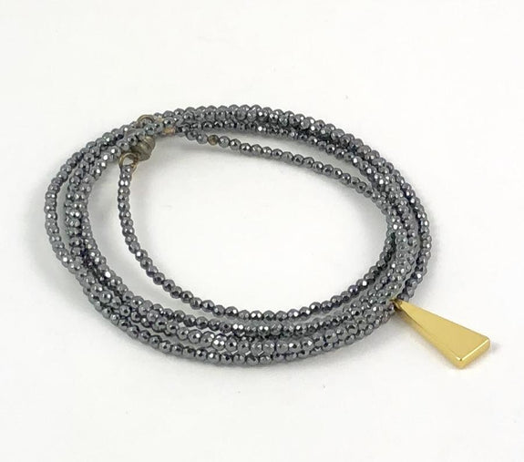 Crunchy Diva Designs - 2mm Hematite Beaded Wrap