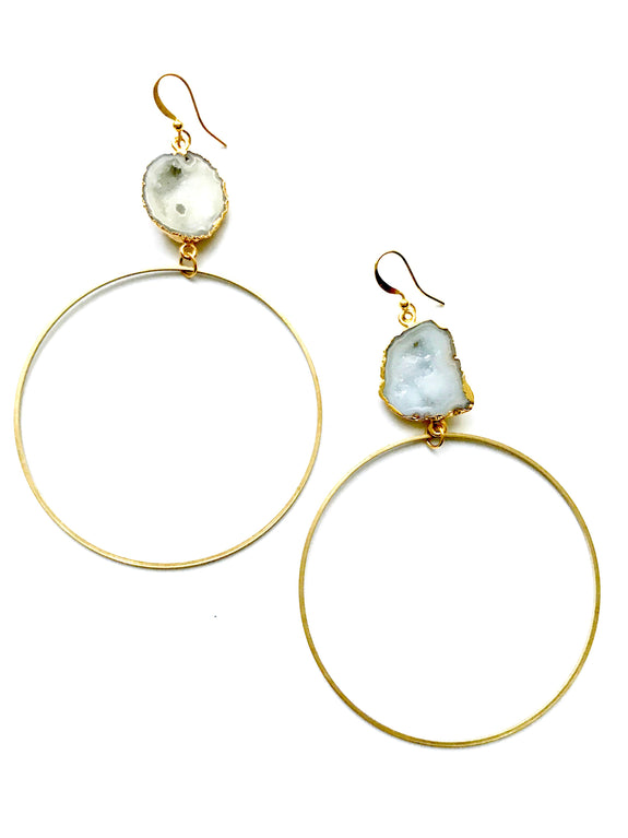 Boho Gal Jewelry - Ola Clear Druzy Hoops
